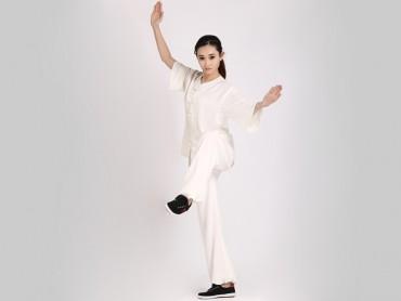 Tai Chi Clothing Uniform Women Summer Half Sleeve White Elastic Linen