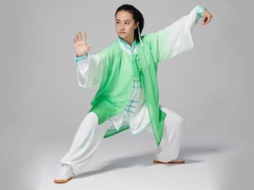Tai Chi Outside Gradient Color Green Veil Shawl