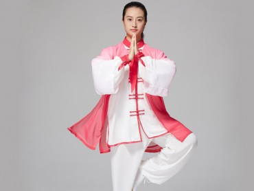 Tai Chi Outside Gradient Color Red Veil Shawl