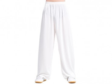 Tai Chi Pants Cotton with Silk for Men and Women White