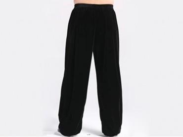 Tai Chi Pants Pleuche for Men and Women Black