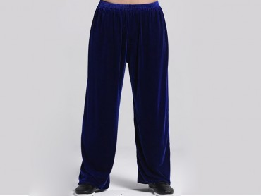 Tai Chi Pants Pleuche for Men and Women Sky Blue