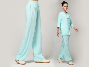 Tai Chi Pants Pure Cotton for Women Light Blue