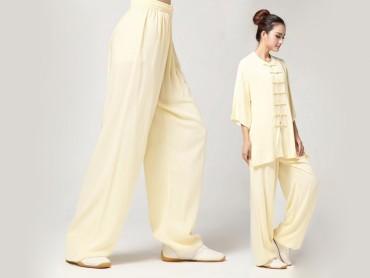 Tai Chi Pants Pure Cotton for Women Belge