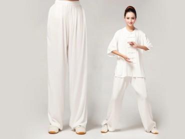 Tai Chi Pants Pure Cotton for Women White