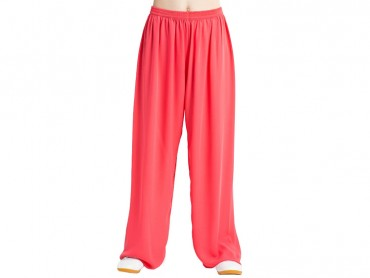 Tai Chi Pants Silk and Linen for Men and Women Watermelon Red