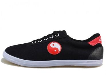 Double Star Canvas Tai Chi Shoes Black Tai Chi Pattern