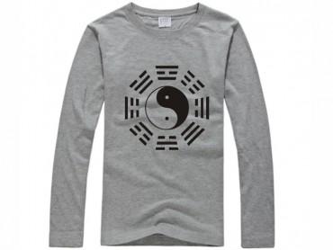 Tai Chi T-shirt Long Sleeve Tai Chi Pattern Grey