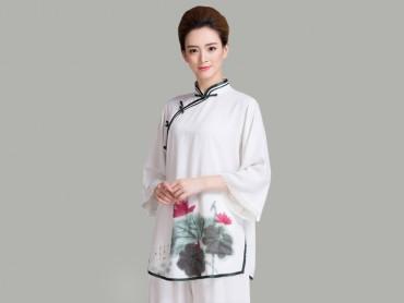 Tai Chi Uniform Half-sleeve Lotus Pattern Slanting Lapel
