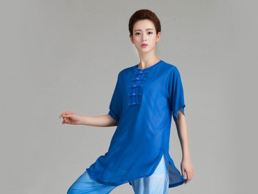 Tai Chi Uniform Half-sleeve Veil for Summer Eight Colors Blue