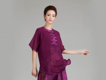 Tai Chi Uniform Half-sleeve Veil for Summer Eight Colors Dark Purple