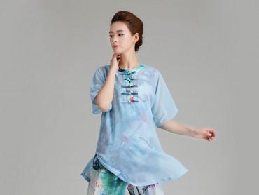 Tai Chi Uniform Half-sleeve Veil for Summer Eight Colors Light Blue