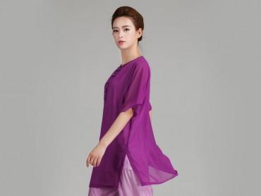 Tai Chi Uniform Half-sleeve Veil for Summer Eight Colors Purple