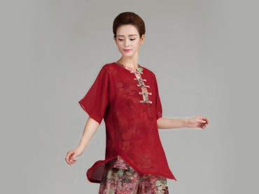 Tai Chi Uniform Half-sleeve Veil for Summer Eight Colors Red