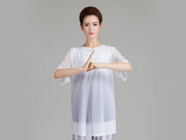 Tai Chi Uniform Half-sleeve Veil for Summer Eight Colors White