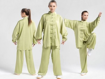 Tai Chi Uniform Silk and Satin Suit for Men and Women Green