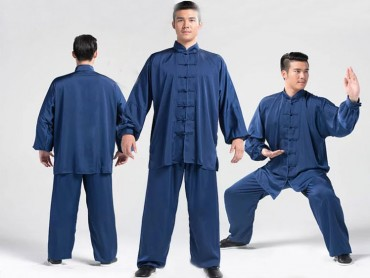 Tai Chi Uniform Silk and Satin Suit for Men and Women Navy