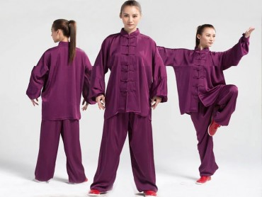 Tai Chi Uniform Silk and Satin Suit for Men and Women Violet