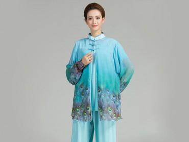 Tai Chi Uniform Suit with Outside Phoenix Veil Blue