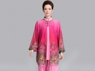 Tai Chi Uniform Suit with Outside Phoenix Veil Pink