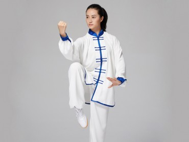 Tai Chi Uniform Double Breasted with Blue Binding