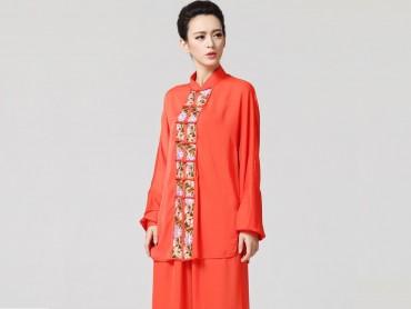 Tai Chi Clothing women long-sleeved Orange Uniform