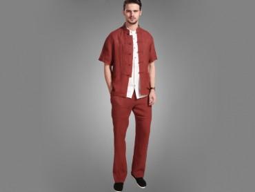 Traditional Kung Fu Clothing Casual Tai Chi T-shirts Claret