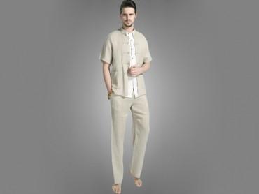 Traditional Kung Fu Clothing Casual Tai Chi T-shirts  Light Khaki