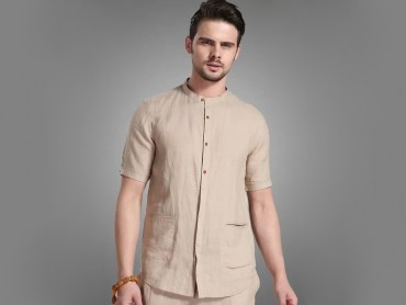 Traditional Kung Fu Clothing Causal Set Khaki and White