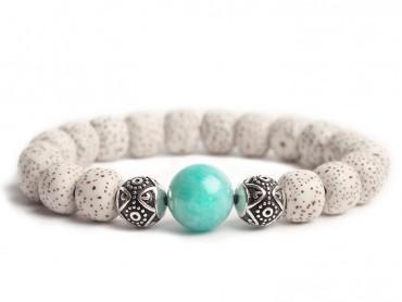 Traditional Tibet Buddhist Prayer 18 Bodhi Beads with Amazonite Stone Mala