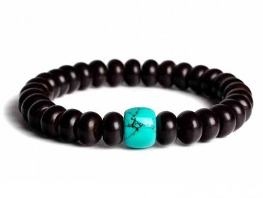 Traditional Tibet Buddhist Prayer 18 Indonesia Coconut shell Beads with Turquoise Mala