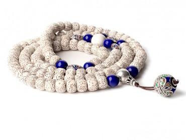Traditional Tibet Buddhist Prayer Wrap Bracelet Necklace 108 Bodhi Beads With Lapis Lazuli  Mala