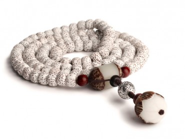Traditional Tibet Buddhist Prayer Wrap Bracelet Necklace 108 Bodhi Beads with Lotus Bodhi Root Mala