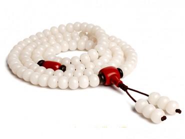 Traditional Tibet Buddhist Prayer Wrap Bracelet Necklace 108 White Jade Bodhi With Agate Mala