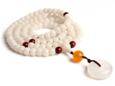 Traditional Tibet Buddhist Prayer Wrap Bracelet Necklace 108 White Jade Bodhi With Calcedony Mala
