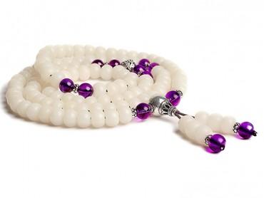 Traditional Tibet Buddhist Prayer Wrap Bracelet Necklace 108 White Jade Bodhi With Purple Crystal Mala