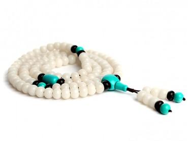Traditional Tibet Buddhist Prayer Wrap Bracelet Necklace 108 White Jade Bodhi With Turquoise Mala