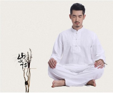 Original Summer Zen Meditation Men Cotton Uniform Long Sleeve