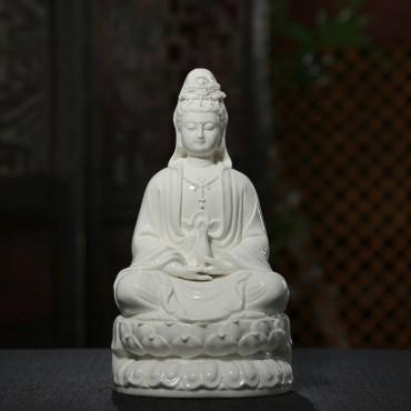 12 inch Glossy/Matte White Ceramics Guanyin Buddha Statue Handicraft Ornament
