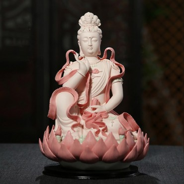 12 inch Pink Ceramics Guanyin Buddha Statue with Streamer Handicraft Ornament