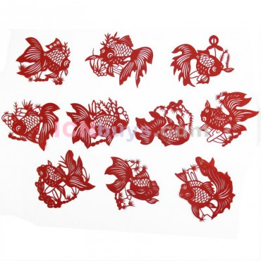 Chinese Paper Cutting Red Golden Fish Set