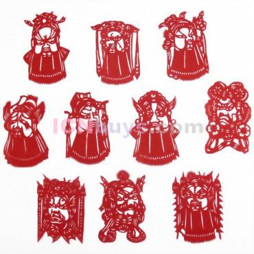 Chinese Paper Cutting Red Peking Opera Set