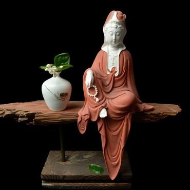 Origin Zen Porcelain Guanyin Ornament Handicraft with Wooden Decoration