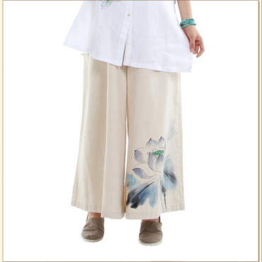 Original Chinese Style Handcraft Lotus Wide Leg Yoga Pants for Women