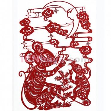 Paper Cutting Chinese Zodiac Rat Charm