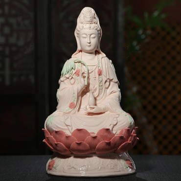 16 inch Pink/White Ceramics Guanyin Buddha Statue for Family Harmony Handicraft Ornament