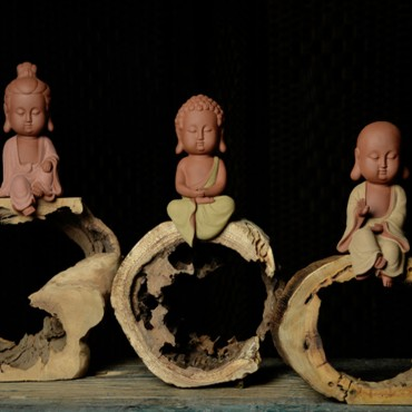 Q-Version Sakyamuni/ Guanyin/ ksitigarbha Buddha Original Porcelain Ornament Handicraft with tree rings base