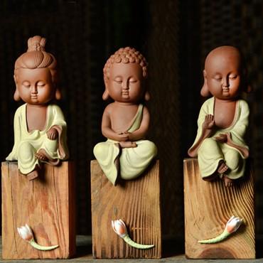 Q-Version Sakyamuni/ Guanyin/ Ksitigarbha Buddha Original Porcelain Ornament Handicraft with wood block base