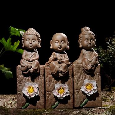 Sakyamuni/ Guanyin/ Manjusri Buddha Porcelain Figurine Ornament Handicraft with Lotus