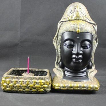Taiwan Guanyin Bodhisattvas Chinaware Ceramics Incense Burner Box Buddha Status Ornament